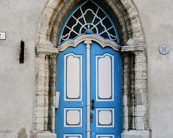 Blue Door Print - Tallinn Estonia Photography - Door Photograph European Home Decor Wall Art Travel Photo Baltic Architecture Print