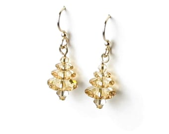 Swarovski Crystal Christmas Tree 14k Gold Filled Earrings Golden Shadow Holiday Jewelry Gift Ideas for Women Teacher Secret Santa Co-Workers