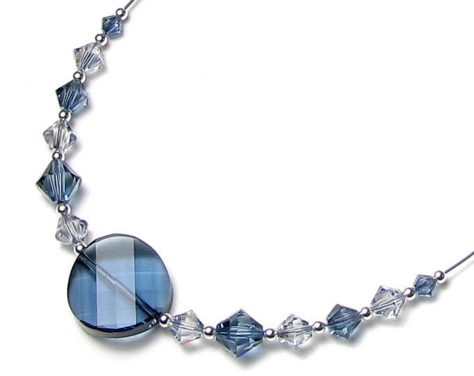 Country Twist Blue Denim Swarovski Crystal Silver Pendant Necklace, Blue Shade Crystal, Gift for Teen, Modern Country Western Skinny Jeans,