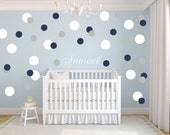 Boys Nursery Polka Dots Decal Bubbles Stickers Name Personalization Circle Vinyl Decals Wallpaper Pattern
