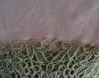 Vintage Pink Tablecloth Trimmed with Ecru Needlework Vintage Table LinensYourFineHouse Dining Entertaining Wedding Gifts Vintage