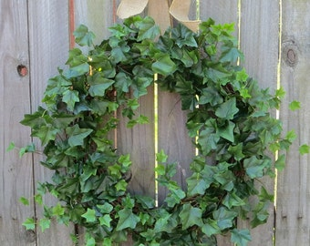 Spring Wreaths, Summer Wreaths, Ivy and Burlap Bow for Year Round, Year Round Wreaths, HornsHandmade, Etsy Wreaths
