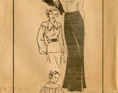 1930s Vintage Sewing Pattern Mail Order 3453 Ladies or Misses Two Piece Dress NRA Symbol Bust 36