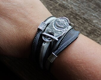 Personalized Wax Seal Initial Silk Wrap Bracelet