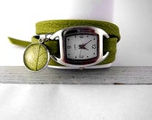GREEN Wrap Watch with real LEAF - light green nappa leather with stainless steel watch and dried leaf charm. Jewelry for her.