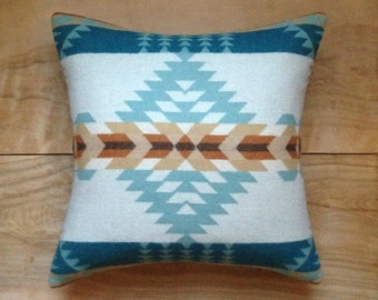 Wool Pillow - Turquoise Aqua - Native Geometric Tribal Southwest Western Arrow
