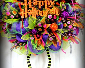 Huge with BOOTS Wicked Witch Wreath Halloween Mesh Wreath - Halloween Decor - Witch Leg and Witch Hat Wreath