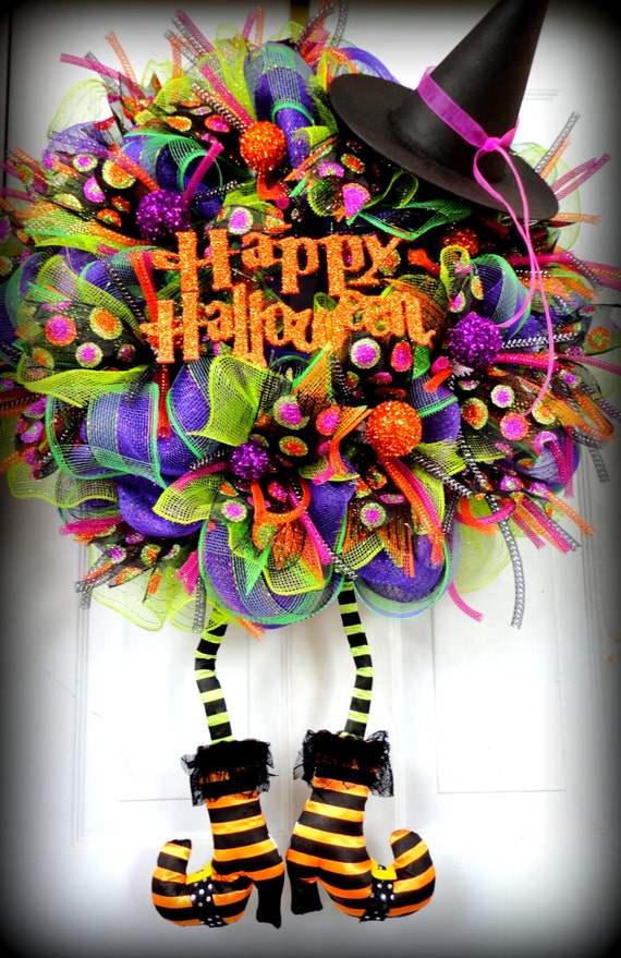 huge with boots wicked witch wreath halloween mesh wreath