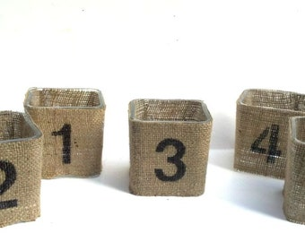 Burlap Candle Votives- Table Numbers- Number Typography