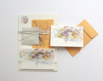 Card Set: Stationery Set blank mini enclosure card set hand printed screenprinted mini tiny