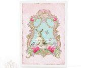 Rabbit card, Easter card, birthday card, baby girl card, white rabbit, tea party card, bunny rabbits, pink card, card for girl girl, blank