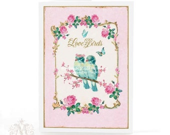 Love birds Valentine love card in pink and  blue