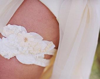 Ready to Ship - Bridal Garter Set - Ivory and White - Wedding Garter Flowing Ruffles & Flowers Garter - Vintage Silk Garter - Pearl Beading