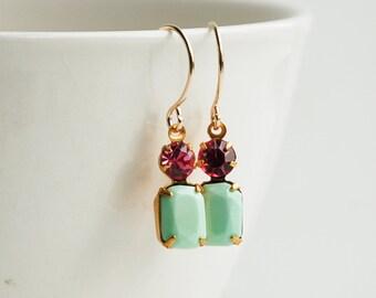 Mint Green Earrings Pink Rhinestone Petite Glass Hot Pink Seafoam Green