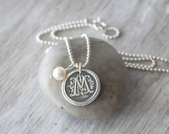 Personalized Wax Seal Initial Necklace - Personalized Womens Initial Charm - Wax Seal Necklace - Sterling Silver Monogram Necklace