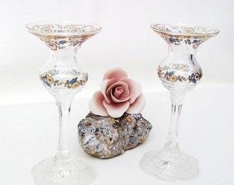 Vintage Lighting, Crystal Candle Holders / Rosenthal Candlesticks / Glass Candleholders Set - Blue Gold