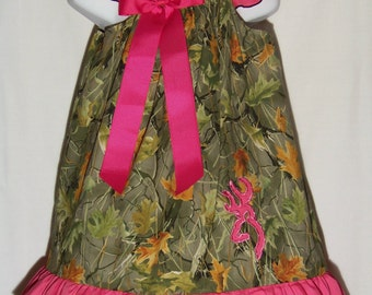 Camo Ruffle Dress / Bling Deer / Rhinestones / Hot Pink / Browning / Realtree / Infant / Baby / Girl / Toddler / Custom Boutique Clothing