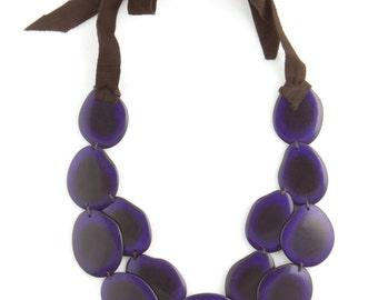 Tagua & Leather Eco Friendly Statement Necklace - Dark Purple 'SACHA' Style
