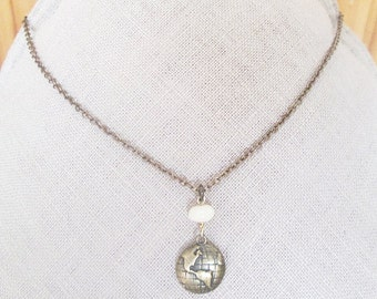 Brass world coin necklace, brass earth planet charm necklace with white agate stone, brass charm jewelry gift for teen, cool earth necklace