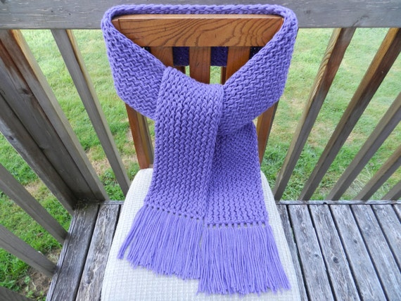 Knitting Loom Scarf Fringe : Winter Scarf Knit Scarf Purple Knit Scarf Loom by yarnworksandmore