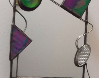 mirror with stained glass, wire and accents