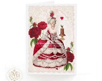 Marie Antoinette, card, Valentines day, red rose, red heart, chocolate cake, lace, creamy white, birthday card, glitter option, blank card