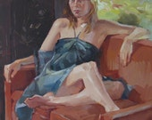 "Sale! Art painting portrait ""By the Oriental Screen"" Figurative fine art oil painting by Sarah Sedwick 16x16in"