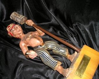 Vintage Folk Art Wood Carved LG.Figure/statue Old World Pirate,Buccaneer/Gunner Fabulous European Find
