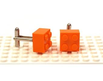 Orange colour 2 x 2 brick cufflinks. Cufflinks made with LEGO(R) bricks.    Cuff links Wedding gift