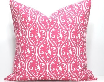PINK PILLOW - Invisible Zipper. 13 Standard Sizes. Custom Sizes & Detailing Available. Designer Fabric from Premier Prints.