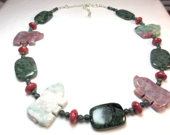 Rhino Necklace, Pink & Green Fetish Bead Necklace, Primitive Tribal Stone Necklace, Green Serpentine, Emerald Green Beaded Necklace