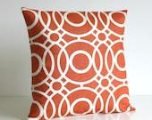 16x16 Trellis Pillow Cover, 16 Inch, Burnt Orange, Cushion Cover, Trellis, Circles, Pillow Sham  - Trellis Circles Spice