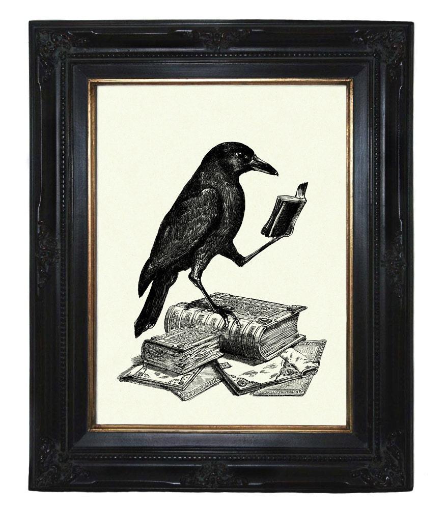 Halloween Raven Art Print Crow Reading A Book Edgar Allan Poe
