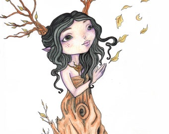 Changes Faerie Art Print / Tree Faerie / Woodland Nursery Art /Fairy Art Prints / Woodland Dryad Magical Household