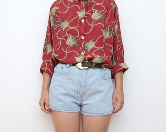 Vintage novelty print red long sleeve shirt
