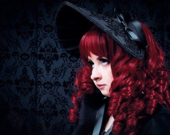 Beautiful Black Victorian Kuro Gothic and Lolita Rose Bonnet - Made to Order