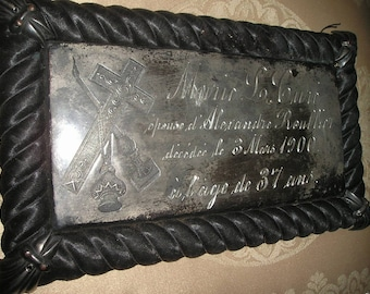 Antique Mourning c1900s French Silverplated Metal/Silk Mori Ornate Funeral Coffin Plaque Inscripted