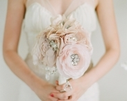 Crystal and Rhinestone Beaded Silk Bridal Bouquet, Medium size in Blush Pink