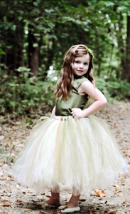Green Flower Girl Dress--Rustic Woodland Wedding--Reversible Two Tone Corset Top--Ballet Neckline--Perfect for Weddings and Portraits