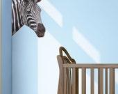 Zebra Head Wall Graphic- Reusable, Wall Sticker, Children Decor, Art