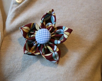 Brown and Blue Fabric Flower Brooch, Flower Pin - Handmade Fabric Flower