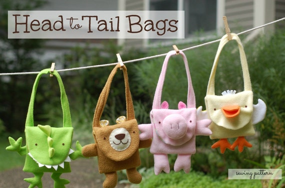 Head to Tail Bags PDF Pattern: Cute Handbags to Sew With Step-By-Step Photos and Easy Instructions