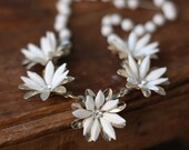 Vintage Costume Necklace Beaded White Flowers with Rhinestones