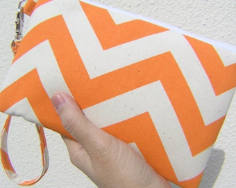 Wedding Clutch 2 pockets, medium,orange,chevron,wristlet, discount plan set  - Big chevron mandarin/natural