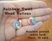 Rainbow Twirl Wood Buttons - white wood with colorful rainbow design, 15mm, light, great for knitwear