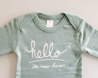 Hello I'm New Here - Funny text baby one piece (6-12 mo - mint - long sleeves)