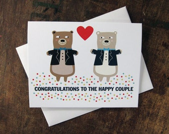 Gay Wedding Card - Tuxedo Bears - Congratulations To The Happy Couple