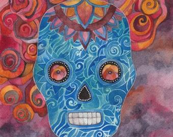 Cobalt Blue Sugar Skull Print by Megan Noel