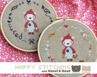 Little Red PDF Cross Stitch Pattern - Happy Stitching with Hazel and Hoot