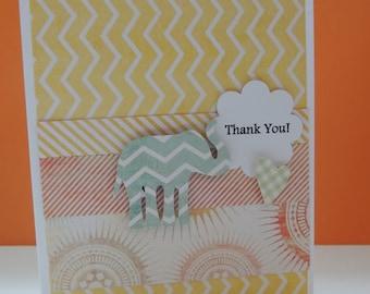 Yellow Chevron  Thank You Card
